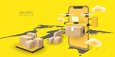 Aplicación de servicio de entrega urgente drone en smartphone vector