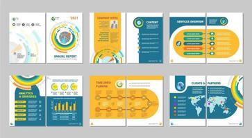 Retro styled circular design booklet set vector