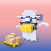 Drone entrega paquete de pedido de teléfono inteligente vector