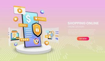 Mobile marketing and secure online shopping design vector