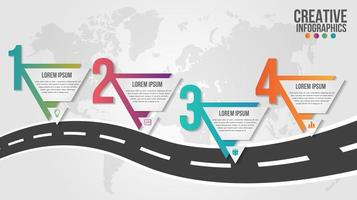 4 step triangles on road infographic