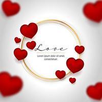 volante de amor con corazones rojos 3d vector