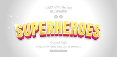 Superhelden gelb mit rotem Schattentexteffekt vektor