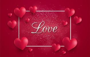 Love flyer with 3d hearts and sparkles in silver frame vector