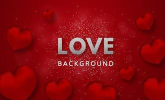 Love flyer with sparkles and 3d red hearts vector