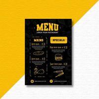 menu de restaurant de style doodle moderne vecteur