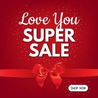Love super sale flyer with red bow vector