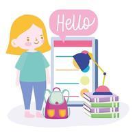 chica estudiante con smartphone, libros y mochila
