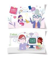 profesores y alumnas en clase a través de dispositivos electrónicos vector