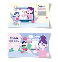 Online education cards with teachers and students with devices vector