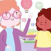 maestra y estudiante niña con una pila de libros vector