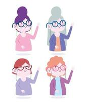 Women with glasses avatar icon set vector