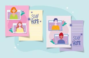 Set of stay at home cards with people connecting online  vector