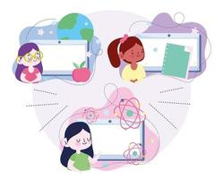 Online education set with student girls using tablet computers  vector