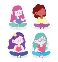 Cute young girls seated on the floor avatar set vector