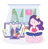Online education with girl in art class with teacher on the computer vector