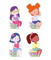 Student girls sitting on stacks of books avatar set vector