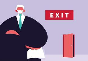 Big boss and an exit door vector