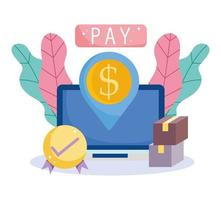 Online payment and e-commerce icon vector