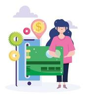 mulher pagando online com cartão de crédito no celular