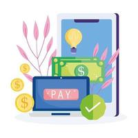 Online payment icon with electronic devices vector