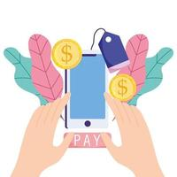 mãos pagando online com smartphone, moedas e etiqueta de preço