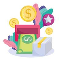 Cash withdraw, dollar coins and package icon