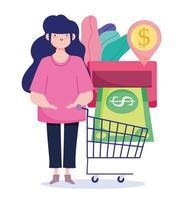 mulher com dinheiro e carrinho