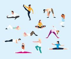 conjunto de personas haciendo ejercicio