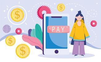 pagamento online e e-commerce via modelo de banner de aplicativo móvel