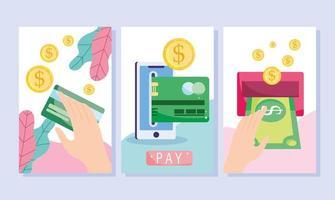 Conjunto de modelos de banner de banco eletrônico, comércio eletrônico e pagamento online