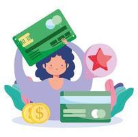 desenho de mulher pagando online com cartão de crédito