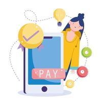 ícones e mulher com conceito de pagamento online