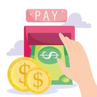 Hand doing a cash withdraw and golden coins vector