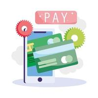 Online payment and online banking on the smartphone vector