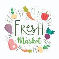 Fresh market lettering with produce icons vector