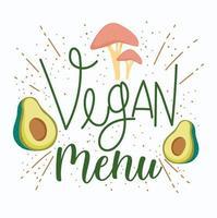 Diseño de menú vegano con aguacate y champiñones.