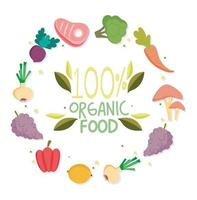 Guaranteed organic food lettering and produce icons vector