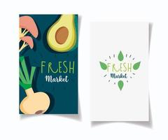Healthy food and organic market banner pack