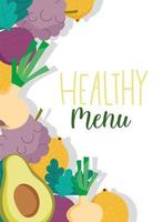 Restaurant healthy menu with produce background banner vector