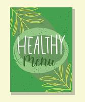 Healthy menu lettering green banner template