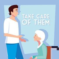 Young man takes care of old woman vector