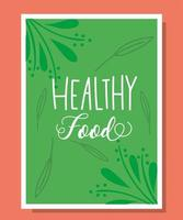 Healthy food lettering in a green banner template