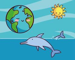 Planet earth with dolphins