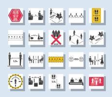conjunto de iconos cuadrados de distanciamiento social
