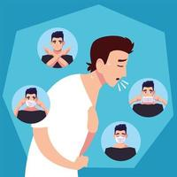 Man coughing and medical mask icons vector