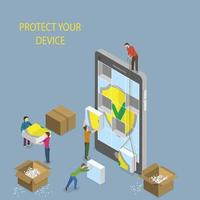 concepto de protección de dispositivos móviles