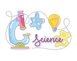 Letras de ciencia con microscopio y bacterias.