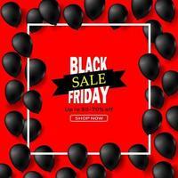 Black Friday Shiny Balloons in White Square Frame vector