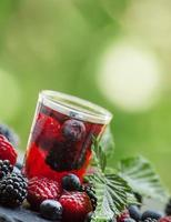 Tea with forest berries on a green natural background